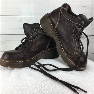 Vtg Dr Doc Martens Ankle Boots Brown Leather